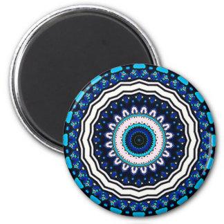 Old world Vintage Moroccan influenced tile design 2 Inch Round Magnet