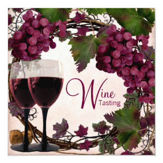 Old World Vintage Red Green Grapes Wine Tasting Card