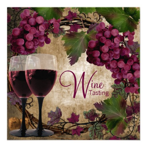 Old World Vintage Red Green Grapes Wine Tasting Custom Invitation