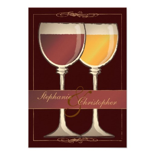 Old World Wineglass Vineyard Winery RSVP Card Personalized Invitations