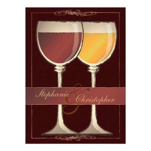 Old World Wineglass Vineyard Winery Wedding Custom Invitations
