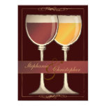 "Old World Wineglass Vineyard Winery Wedding 5.5"" X 7.5"" Invitation Card"