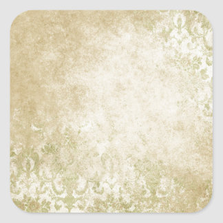 old worn damasks pattern green square sticker
