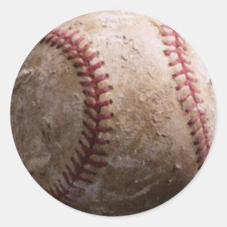 Old worn rugged baseball stickers