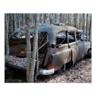Old Wrecked Station Wagon Poster