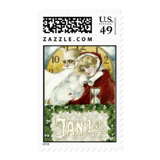 Old Year and New Year Postage Stamps