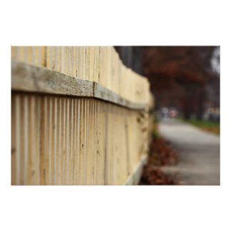 Old Yellow Picket Fence and Sidewalk Poster