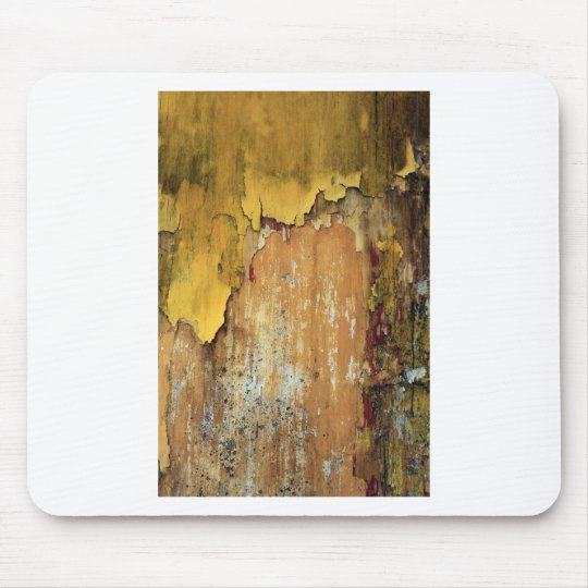 Old yellow wall peeling paint mouse pad