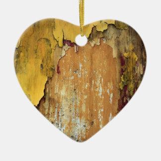 Old yellow wall peeling paint christmas tree ornaments