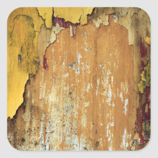 Old yellow wall peeling paint square sticker