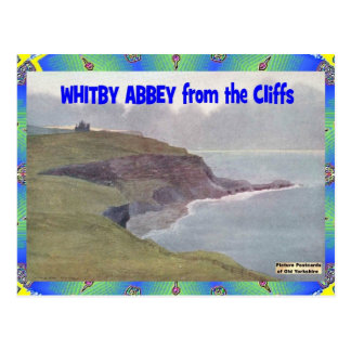 OLD YORKSHIRE - WHITBY ABBEY FROM CLIFFS POSTCARD