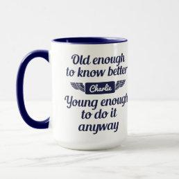 """Old & Young"" custom name mugs"