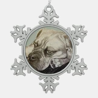 Olde English Bulldogge by Carol Zeock Snowflake Pewter Christmas Ornament
