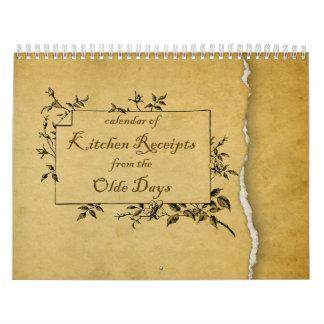 Olde Kitchen Receipts Calendar