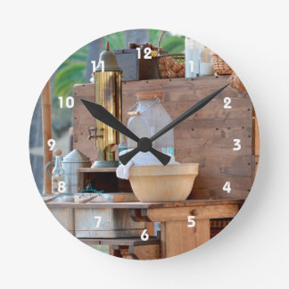 olde time trading post knick knacks round clock