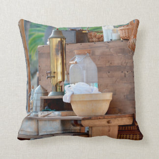 olde time trading post knick knacks throw pillow