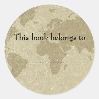Olde world map book plate sticker