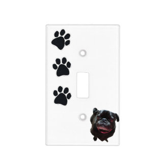 older black pug light switch cover