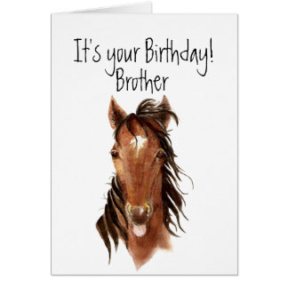 Older Brother Birthday Horse Sticking out Tongue Greeting Card