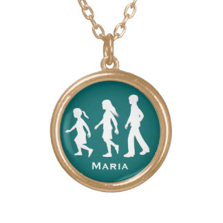 Older Brother, Younger Sisters: Silhouettes Round Pendant Necklace