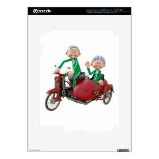 Older Couple on a Moped with Sidecar iPad 3 Decals