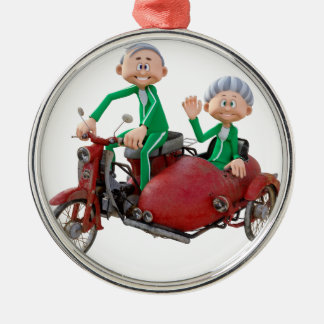 Older Couple on a Moped with Sidecar Metal Ornament