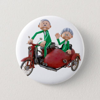 Older Couple on a Moped with Sidecar Pinback Button