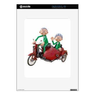 Older Couple on a Moped with Sidecar Skins For The iPad