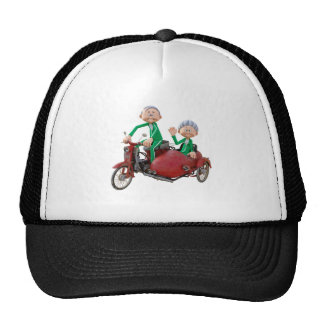 Older Couple on a Moped with Sidecar Trucker Hat