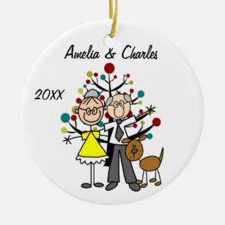 Older Couple with Dog Custom Holiday Ornament
