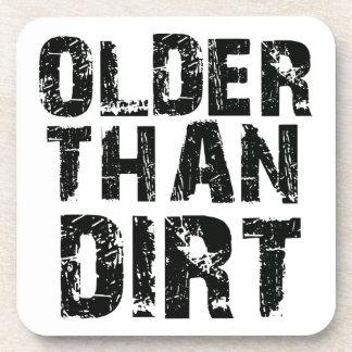 Older than dirt beverage coaster