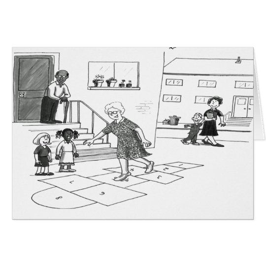Older woman skips playing hopscotch with kids card
