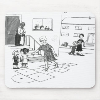 Older woman skips playing hopscotch with kids mouse pad