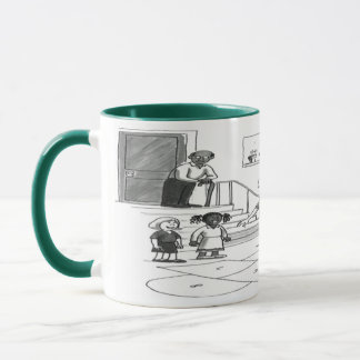 Older woman skips playing hopscotch with kids mug