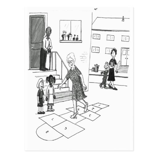 Older woman skips playing hopscotch with kids post cards