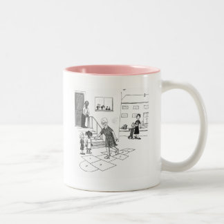 Older woman skips playing hopscotch with kids Two-Tone coffee mug