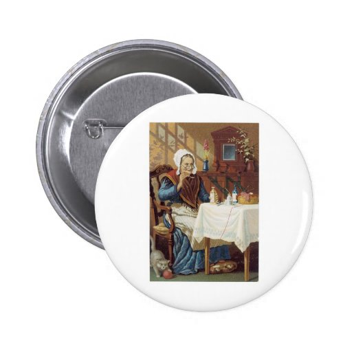 Older Woman Taking Emulsion At Table with Cat 2 Inch Round Button
