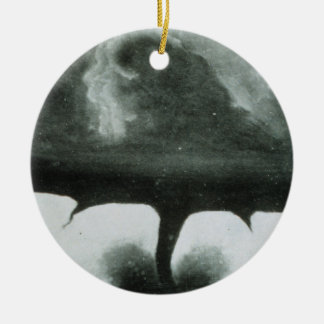 Oldest Known Photograph of a Tornado from 1884 Double-Sided Ceramic Round Christmas Ornament