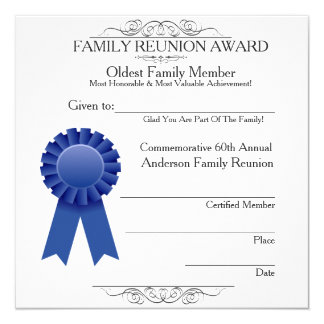 Oldest Member Elegant Family Reunion Awards Temp Card