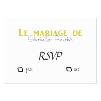 Oldfahioned French wedding rsvp Large Business Card