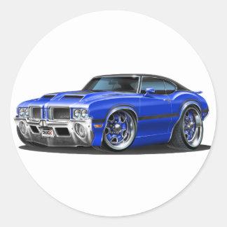 Olds Cutlass 442 Blue Car Classic Round Sticker