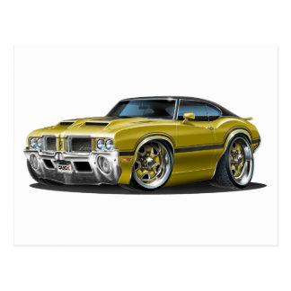 Olds Cutlass 442 Gold Car Postcard