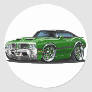 Olds Cutlass 442 Green Car Classic Round Sticker