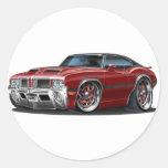 Olds Cutlass 442 Maroon Car Round Sticker