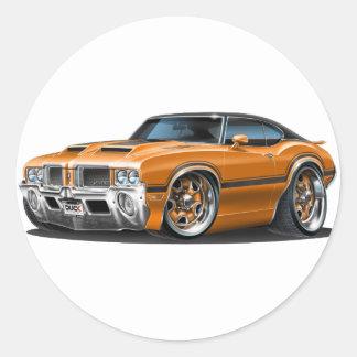Olds Cutlass 442 Orange Car Classic Round Sticker
