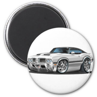 Olds Cutlass 442 White Car 2 Inch Round Magnet