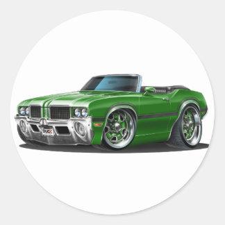 Olds Cutlass Green Convertible Classic Round Sticker