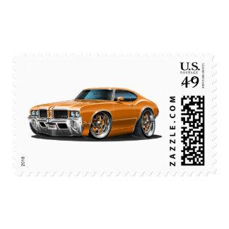 Olds Cutlass Orange Car Postage Stamp