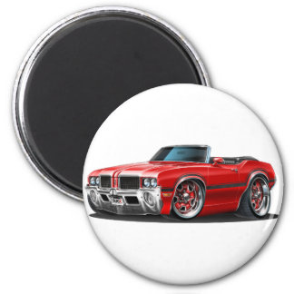 Olds Cutlass Red Convertible 2 Inch Round Magnet