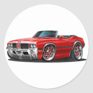 Olds Cutlass Red Convertible Classic Round Sticker